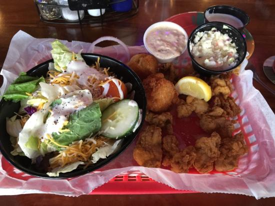 The Oar House: Hands Down!! The best fried oysters I have ever, ever eaten! Great hushpuppies and cole slaw! Je
