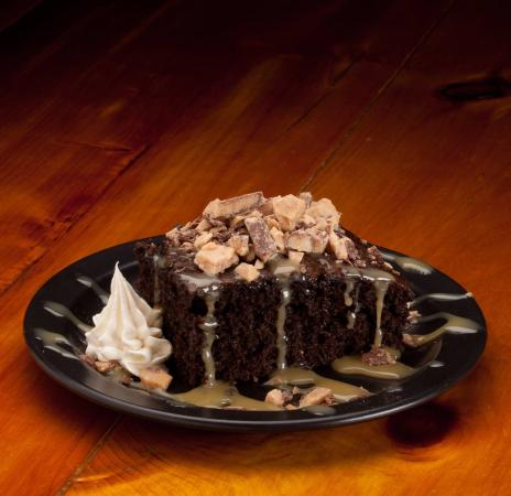 The Reel 'Em Inn: Our signature dessert...Toffee Explosion Cake!  It's so very good you'll want to lick the plate.