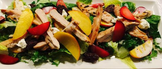 The Lime Lite: Stone Fruit & Chicken Salad: Wawona Stone Fruit,Goat Cheese,Nuts & Vanilla Poppy Seed Dressing