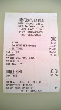 Restaurant La Prua: scontrino