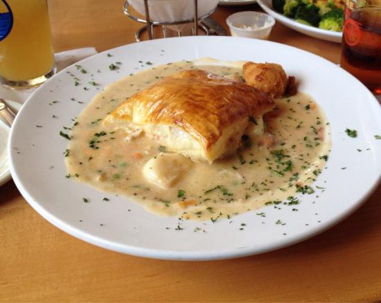 Seafood pot pie and tables up in the tree house bar for Fish pot pie