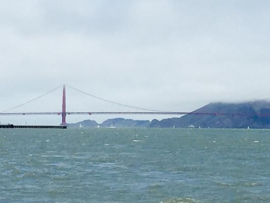 San Francisco Sailing Company: Wine on the boat. View of the bridge and boats in the harbor.