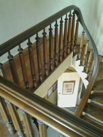 Home of Stone: Looking down at the black walnut staircase.