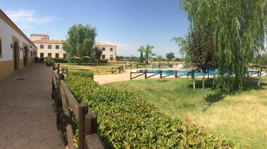 Hotel Cortijo Santa-Cruz: Zona de baño, piscina de adultos con jacuzzi y piscina para niños.