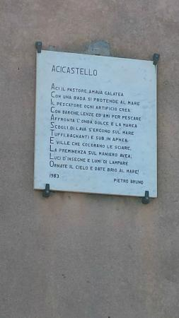 Plaque of a poem at Aci castello - Picture of B & B La Terrazza ...