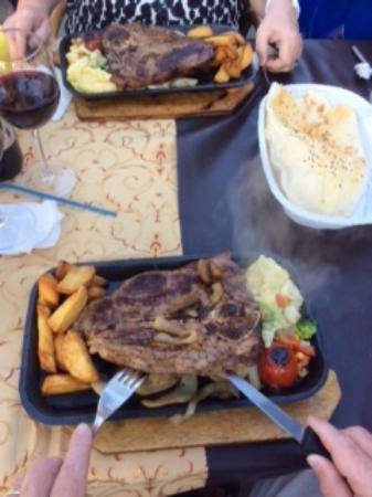 Family Door: The best steaks,garlic bread,half bottle of wine 37TL approx £9 at todays rate