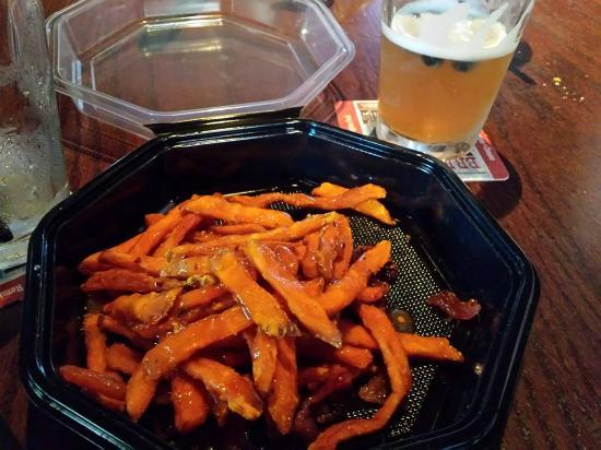 Bricktown Brewery Restaurant: In the to go box next to some awesome craft beer infused with blueberries