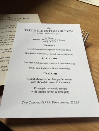 Bildeston, UK: Menu