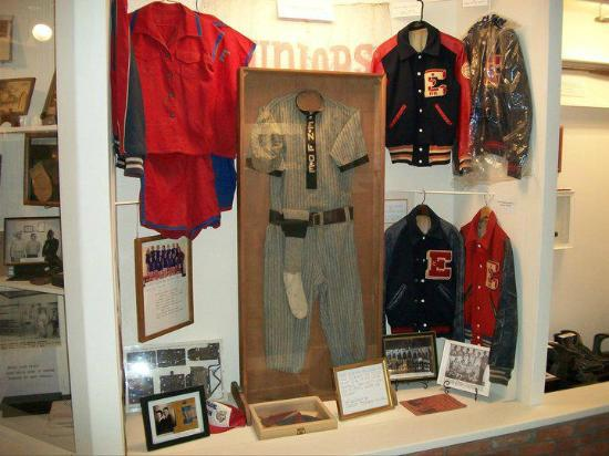 Enloe High School sports memorabilia displayed at Clara Foster Slough Museum.