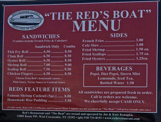 Fish fry boat menu picture of reds restaurant for Fish fry menu