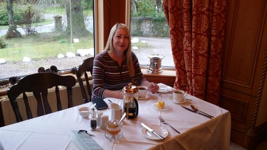 Culdearn House: My wife Becky at breakfast at Culdearn