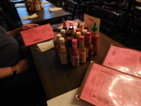 Heaven on Seven: Condiments take up a lot of table space!