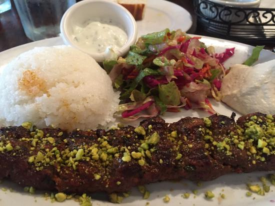 Galata Bistro: Gyro plate on left and pistachio kebab on right