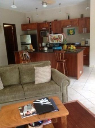 Villas Tranquilas: Family room and kitchen