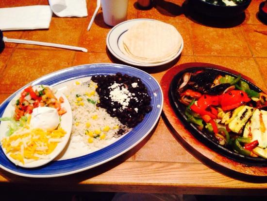 On the Border: Veggie Fajitas are excellent! And bed springs for light fixtures? Clever!