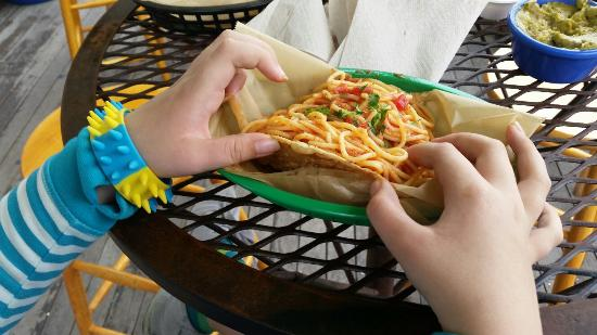 Quicks Hole Taqueria : Forgot a pic of my fish taco, but this is the kids spaghetti taco.
