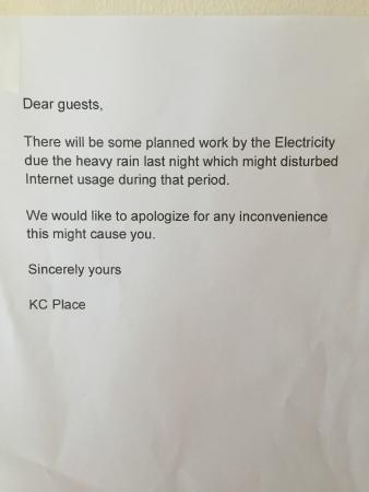 KC Place Hotel Pratunam: electricity down