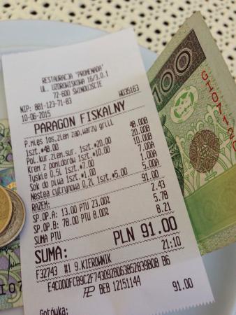 Swinoujscie, Poland: Für zwei Hauptspeise, eine Vorspeise und zwei Getränke! TOOOP!!