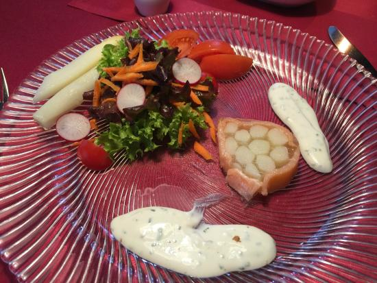 Gasthaus Altes Bad: Terrine of asparagus, wrapped in salmon with Baerlauch Sauce