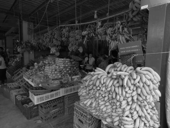 San Ignacio Market : Piles of bananas and fruit and veg.