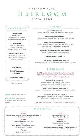 Heirloom Restaurant: Dinner Menu