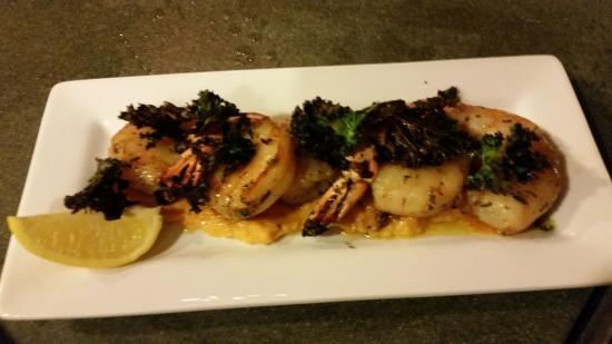 Rosemary and honey glazed jumbo shrimp over sweet potato ...