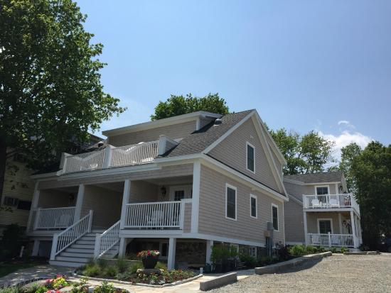 Marginal Way House: Exterior view of new Wharf House building