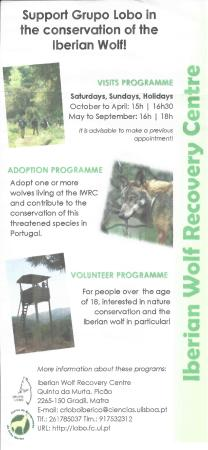 Iberian Wolf Recovery Centre: Flyer with Hours