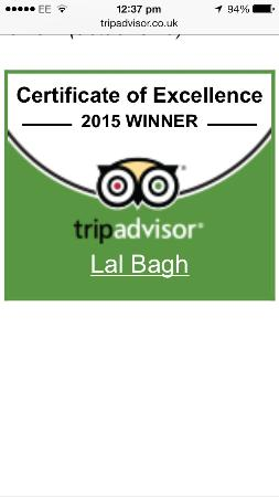 Lal Bagh: Five star rated on food and hygiene