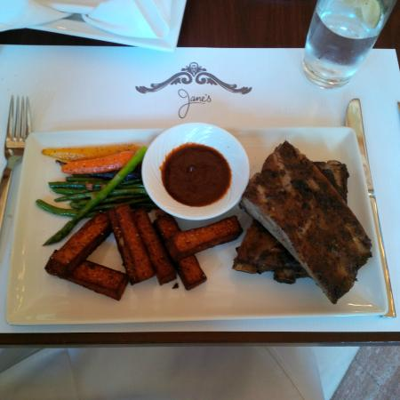Dry Rubbed Manitoba Pork Ribs with Polenta Fries w/ smoky barbecue sauce