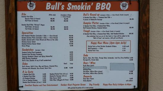 Bulls Smokin' BBQ: The Menu - have to go inside to see the specials
