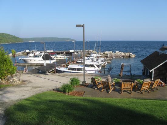 The Harbor Light Inn: Boats across the road