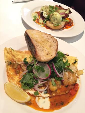 In Thais Cafe : Harissa Benedict & Thai Omelette with seared Morton Bay Bug meat!