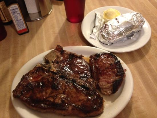 The Deer Lodge: TBone steak with a baked potato
