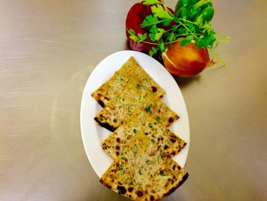 Indii of Clare: Lunch time 'veg cheese naan' Plain flour naan stuffed with mix of fresh onion,capsicum,cheese a