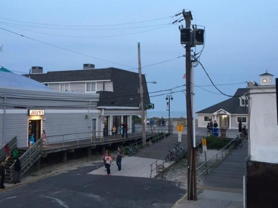 Harris House Motel: from the balcony of this hotel…this is how close you are to the boardwalk!