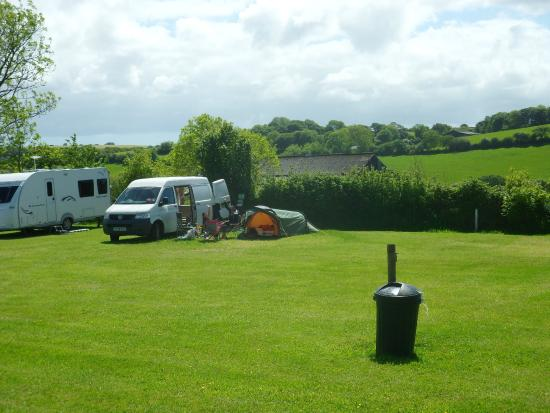 Court Farm campsite - the van and our tent.