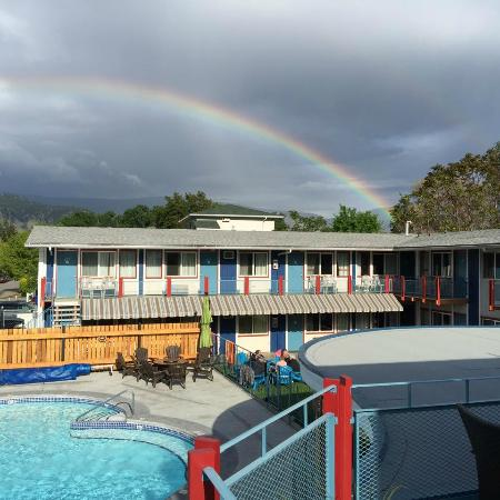 Bowmont Motel: rainbow over the pool