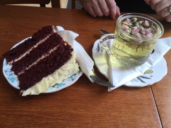 Where Memories Meet : Rose bud tea and red velvet cake deliciously flavoured to complement one another.
