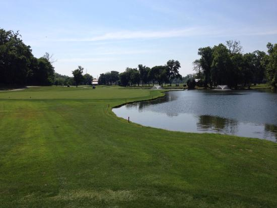Springboro, OH: 13th fairway.  Water all the way to just short of the green on the right.