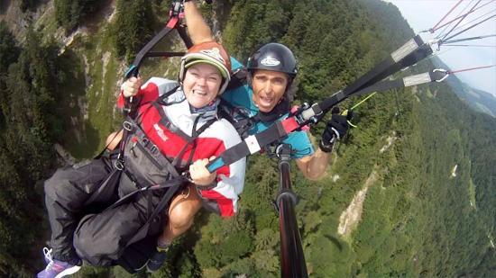 Paraworth Tandem Paragliding: Mary Flying with Craig at Lenggries