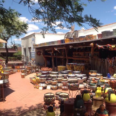 Tubac, AZ: Colorful ceramic and clay outdoor pottery