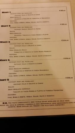 Osteria del Macellaio : menù