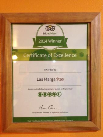Las Margaritas: Found this place on trip advisor and they are proud of their rating.