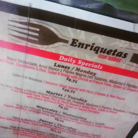 Enriqueta's Sandwich Shop: Menu Lunch Specials