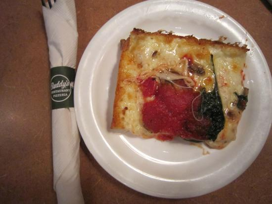 Buddy's Pizza-Detroit: Square pizza with spinach, mushrooms, and fresh garlic