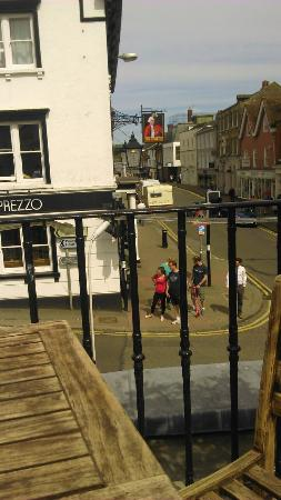 Bishops Stortford, UK: Overlooking south street from host balcony bar/ restaurant