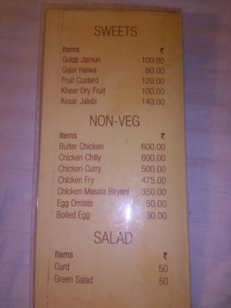 Menu Card Picture Of Kabir Hotel Srinagar Tripadvisor