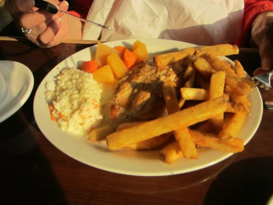 Jim's Family Seafood Restaurant: Grilled chicken breast with fries, vegetables and cole slaw