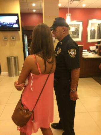 "Sheraton Iowa City Hotel: The ""security guard""  flirting with young girl instead of helping the many disoriented guests"